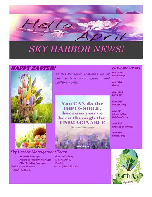 Sky Harbor Newsletter April 2020 Thumbnail